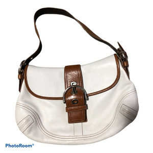 Coach Cream Leather  Canvas Trim  Soho Hobo Bag